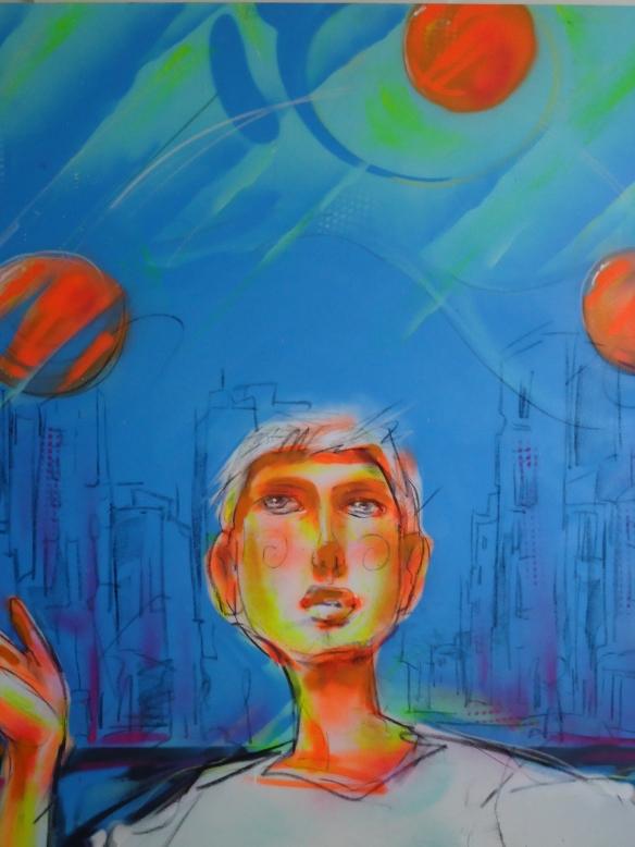 Malabares. Grafitti em tela de Thiago Furtado, Valdi-valdi. Inspirado na crônica O Preço do Ingresso publicada no meu livro Cenas Urbanas e Outras Nem Tanto.  .A tela fez parte da Exposição temática na noite de  lançamento do livro.